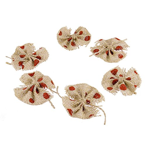 Electroprime® 6pcs Shaby Red Dot Hessian Burlap Bowknot Crafts Wedding Jute Hat Hair Decor