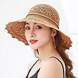 ZJWP Cappello Donna Estate SunhatGioventù Giovane Madre Pescatore Cappello Protezione Solare Viaggio Big Bacino Hat-One Size Codice (56-58Cm) _Meat Meal