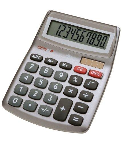 Genie 540 10-stelliger Design-Tischrechner (Dual-Power (Solar und Batterie), kompakt) grau