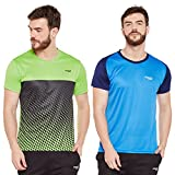 Masch Sports Mens Polyester Printed & Colourblocked T-Shirts- Pack of 2 (Azure Blue,Lime Green & Navy Blue)