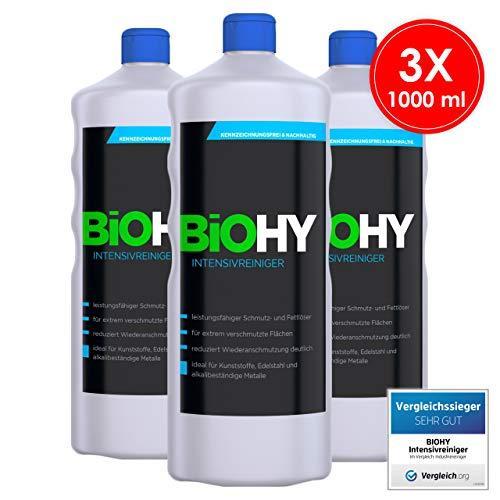 BIOHY Intensivreiniger Universal 3x1 Liter Flaschen - Hochleistungs Industriereiniger - Grundreiniger ideal für Hochdruckreiniger