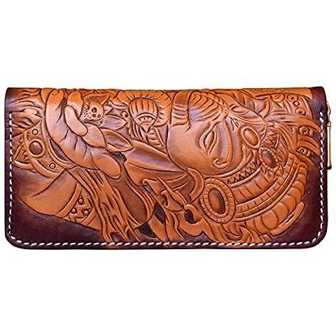 OLG.YAT® Pflanzlich gegerbtes Leder Geldbörse Portemonnaie Börse Brieftasche Handgefertigt Retro 20.5*10.5*4cm OLG-WLXS2