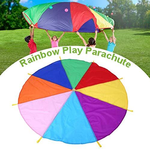 Chirsemey Kinder Spielen Zelten Fallschirm mit 8 Griffen für Indoor Outdoor, 2M Improved