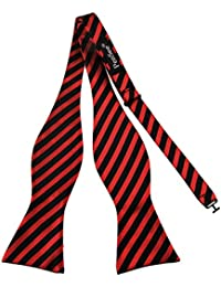 PenSee Mens Jacquard Woven Silk Self Bow Tie Black & Red Stripes Bow Ties