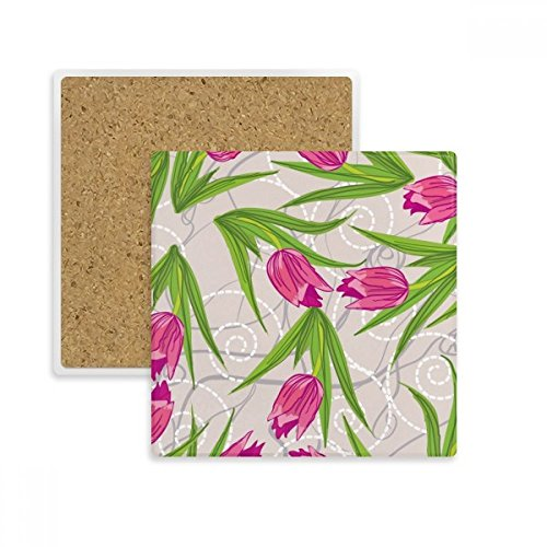 Nelke Blatt (DIYthinker Blätter Blume Nelke Pflanze Blumen-Quadrat-Coaster-Schalen-Becher-Halter Absorbent Stein für Getränke 2ST Geschenk Mehrfarbig)