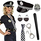 SPECOOL Kit 6 Pezzi Polizia Set Poliziotto Giocattolo per Adulto Bambino Accessori Poliziotta Manette Polizia Distintivo Polizia Cappello Della Polizia,Cravatta,Bastone di Plastica,Occhiali Neri