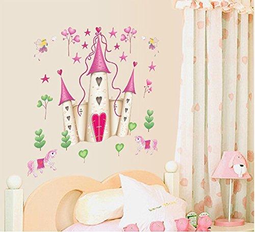 ufengke® Cartoon Prinzessin Schloss Wandsticker,Kinderzimmer Babyzimmer Entfernbare Wandtattoos Wandbilder (Wandtattoo Prinzessin Schloss)