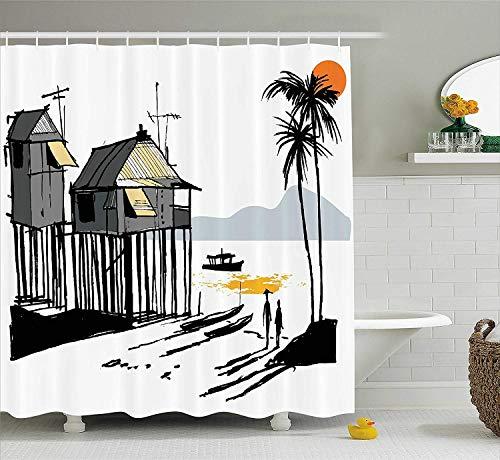 Presock Coastal Decor Duschvorhang, Sketchy Fishing Village Malay in Singapore with Houses Canoe Palms Sun, Fabric Bathroom Decor Set with Hooks, 60 x 72Inch, Black Grey Orange (Duschvorhang Tmnt)