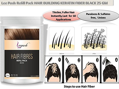 Lee posh Hair Building Fiber, Refill Pack Black, 25gm