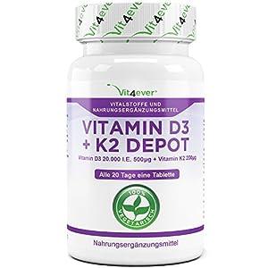 Vit4ever® Vitamin D3 20.000 I.E + Vitamin K2 200 mcg Menaquinon MK7 Depot – 180 Tabletten – 99% All-Trans – Laborgeprüft – Alle 20 Tage eine Tablette – Vegetarisch – Hohe Bioverfügbarkeit