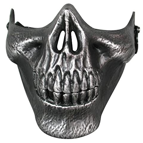 SODIAL(R) Airsoft Mask Skull Skeleton Airsoft Paintball Half Face Protect Airsoft Mask (Silver )