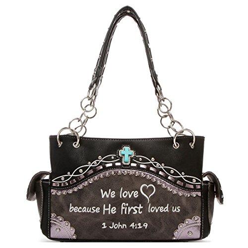 Schwarze Western-wallet (Western Bible Bijbel Double Zip Around schoudertas Wallet Puse Handtas Combo Balck Color)
