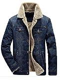 MatchLife Classics Herren Jeansjacke Winter Denim Jacket Gefütterte Jeans Jacke Winterjacke Style2-Dunkelblau M