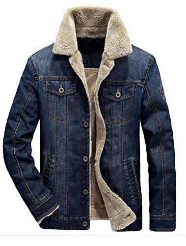 MatchLife Classics Herren Jeansjacke Winter Denim Jacket Gefütterte Jeans Jacke Winterjacke Style2-Dunkelblau L