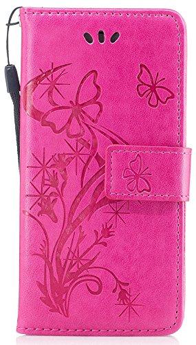 Iphone 7 Coque silicone, Iphone 7 Accessoire, Coque Iphone 7 silicone, Nnopbeclik® Mode Wallet/Portefeuille en Bonne Qualité PU Cuir Housse (4.7 Pouce) Papillon et Fleur de Gaufrage Style Motif + Band rose