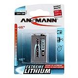 ANSMANN Extreme Lithium Batterie 9V E-Block 1er Pack - hohe Kapazität, extrem leich, 700% mehr Power