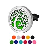 HOUSWEETY Tree of Life Pattern 316L Stainless Steel Car Air Freshener Aromatherapy Essential Oil Diffuser Locket Clip with 11 Felt Pads