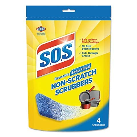 S.O.S. Non-Scratch Soap Scrubbers, Blue, 4/Pack by S.O.S
