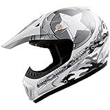 Römer 13016 casque de moto starcross motocross mX-blanc perle/argent