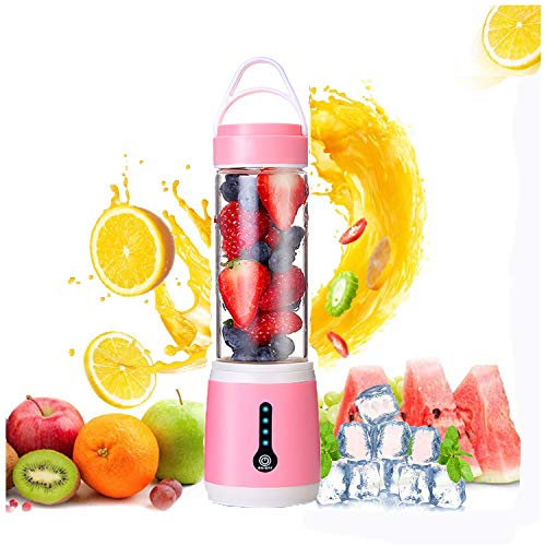 Licuadora Portátil,USB Fruit Juicer Cup Personal,Mini Batidora de Vaso para Fruta, para Oficina en casa Viajes y Aire Libre (480ml),Batido De Leche Y Alimentos Para Bebés,Pink