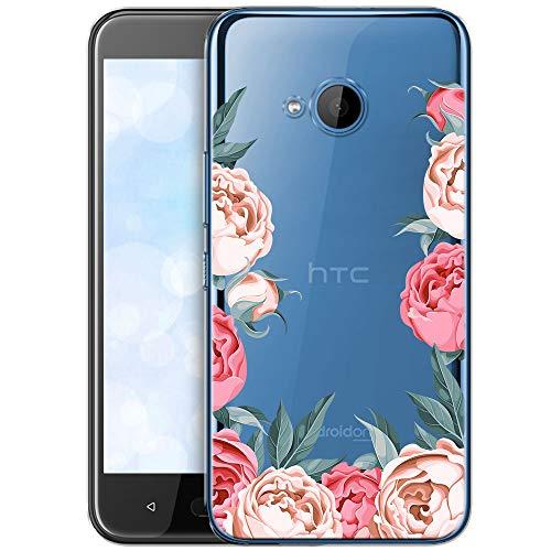 OOH!COLOR Schutzhülle Kompatibel mit HTC U11 Life Hülle Silikon Case Handy Tasche transparent Bumper mit Coolen Aufdruck Motiv Pfingstrosen (EINWEG)