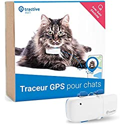 Dernier modèle Tractive traceur GPS pour chat - pour tout collier avec suivi d'activité - léger et étanche avec porté illimitée