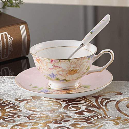 QYYDMKB Flower Bone China Teetasse Untertasse Löffel Set British Advanced Porzellan Kaffeetasse 200 ml Keramik Teetasse Rosa Blume Bone China Flower