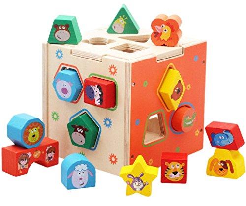 Happy Cherry - Cubo de Juguetes Madera para bebés niños apilar y encajar con Animales