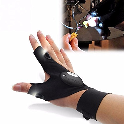 Ulanda-EU Outdoor Fishing Gloves Electric Night Lighting Gloves LED Flashlights Torch Cover Thumb Index Finger Gloves Bike Bicycle Glove For Camping Hiking Emergency Survival (Right hand)