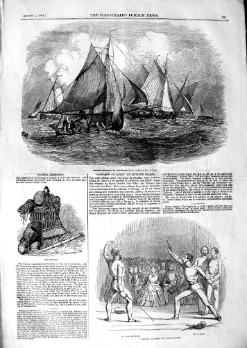 Alter Antiker Druck 1847Oyster schürfbaggerbetrieb Whitstable Bay Willis Raum Fencing Alte Oyster
