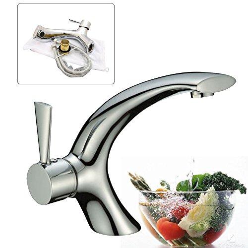 OUkANING Grifo de una sola palanca de latón macizo moderno grifo de lavabo de lavabo de lavabo de baño cromado grifo agua