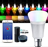 E-Jiaen WLAN-Smart-LED-Glühbirne, B22-Bayonetverschluss, 7 W RGBW, mehr als 16 Millionen Farben mit Amazon Alexa Echo, dimmbar, bunt, kein Hub für iOS/Android/iPhone/iPad/Samsung/LG B22 - Silver Type B