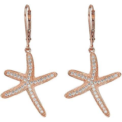 EVER FAITH® argento 925 della CZ nautico Starfish Leverback orecchini di goccia trasparente - rodio placcato