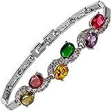 Jewellery Oval Cut Multi Color Gemstones Fine CZ 18K White gold Plated [18cm/7inch] Tennis Bracelet Simple Modern Elegance [Free Jewelry Pouch]