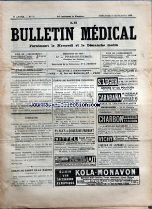 BULLETIN MEDICAL (LE) [No 71] du 09/09/1894 - CONGRES DE BUDA-PESTH - INTERETS PROFESSIONNELS - REVUE DE TRAVAUX - MEDECINE PRATIQUE - STATISTIQUE DE L'INSTITUT PASTEUR - CORPS DE SANTE DE LA MARINE - CORPS DE SANTE DES COLONIES