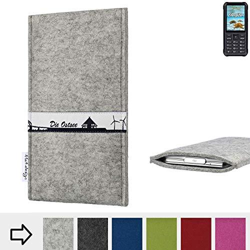 flat.design für Energizer H20 Schutz Hülle Handy Case Skyline mit Webband Ostsee - Maßanfertigung der Schutztasche Handy-Tasche aus 100% Wollfilz (hellgrau) für Energizer H20