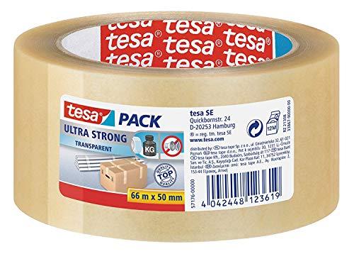 tesa Ultra Strong Packband (aus PVC mit besonders starker Klebekraft, 66 m x 50 mm) transparent