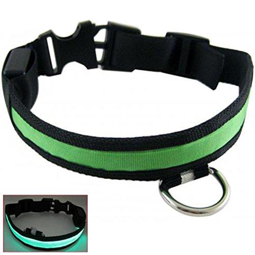 Seguridad de nylon LED mascota perro noche Collar correa luz parpadeante resplandor en la oscuridad talla S
