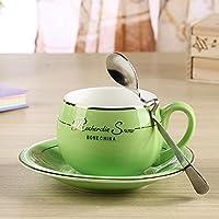 SSBY Moda carino boutique del caffè tazza, tazza di caffè in ceramica porcellana bone China occidentale-stile, tazza e piattino cucchiaino da tè , green