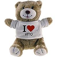 Oso de peluche Classic I Love con tela Vito Beige