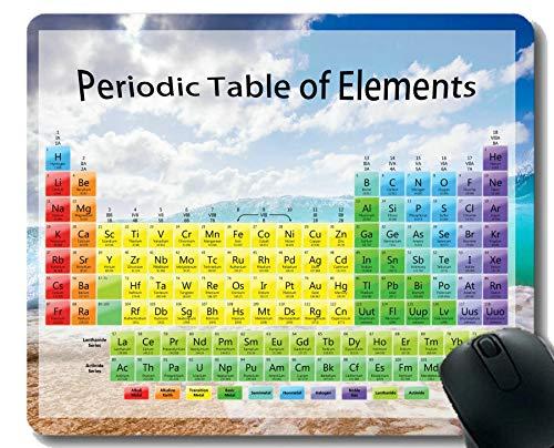 Yanteng Tavola Periodica di Elementi chimici Tappetini per Mouse Personalizzati, tappetini per Mouse a Tema Wave Beach con Bordo Cucito