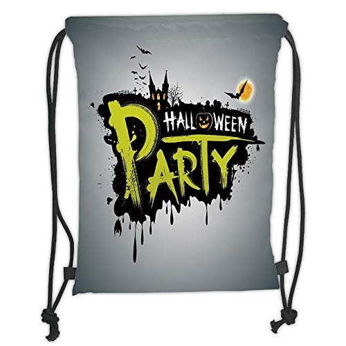ack Backpacks Bags,Halloween,Halloween Party Hand Drawn Brushstrokes Artistic Design Grunge Cartoon,Yellow White Black Soft Satin,5 Liter Capacity,Adjustable String Closure, ()