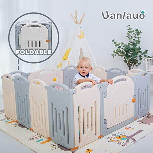 Laufgitter Laufstall Baby Absperrgitter Krabbelgitter Schutzgitter für Kinder aus Kunststoff mit Tür und Spielzeugboard