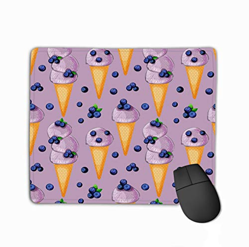 Mousepad Custom Design Gaming Mouse Pad Rubber Oblong Mouse Mat 11.81 X 9.84 Inch Blueberry Icecream Cone Berries Purple Background Blueberry Icecream Cone Berries Creative