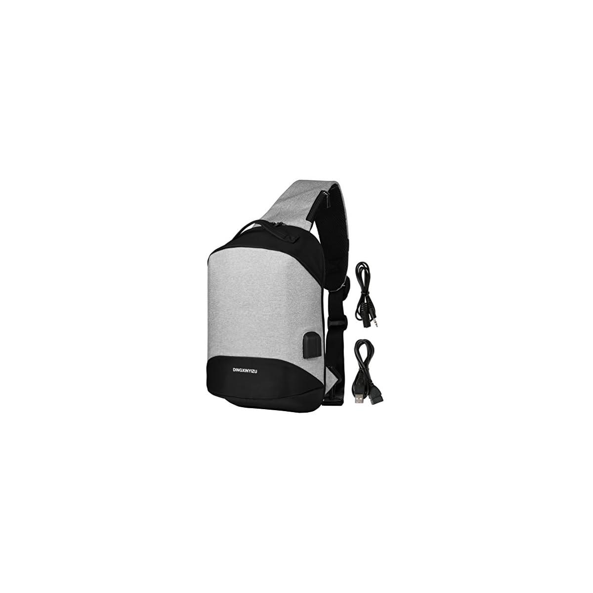 51ZlXLySNBL. SS1200  - Vbiger Bolso de Bandolera de Hombre, Bolso de Pecho de Moda, Bandolera Casual, Puerto de Audio y Puerto de Carga USB
