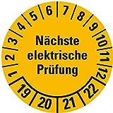LEMAX® Prüfplakette Nächste elektrische Prüfung 19-22,gelb,Dokufolie,Ø30mm,18/Bogen