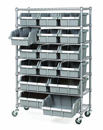 Seville Classics SHE16510BX Professionelles Regalsystem mit 7 Böden und 16 Behältern, Schwerlastregal, Metall, platin, 91.4 x 35.5 x 124.2 cm