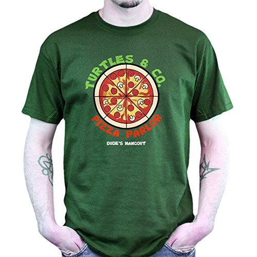 Teenage Turtles PIzza and Co. Mutants Parlor T-shirt Jungle Green