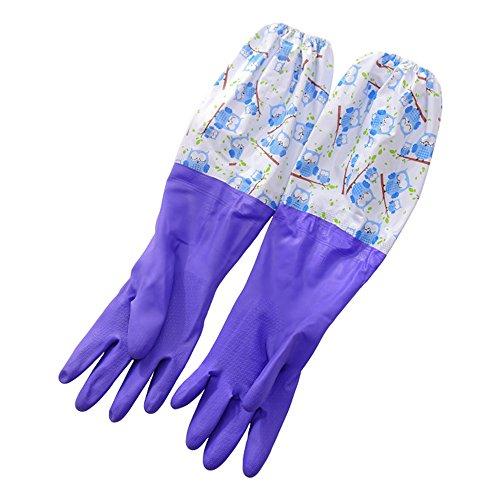 DULEE 2 Paare Winter Wasserdichte Halten Warm Fleece Gefüttert Hause Haushalt Küche Golves Geschirrspülen Wäsche Reinigung Handschuhe, lila