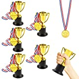 Pllieay Trophy Cup - 6 Pieces 4 Inch Gold Plastic Trophies and 6 Pieces Medals for Party Celebrations, Sport, Awards